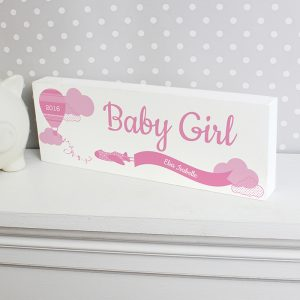 Personalised Up & Away Baby Girl Wooden Block Sign