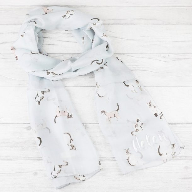 Personalised Watercolour Cats Silk Skinny Scarf