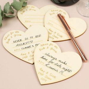 Personalised Wooden Heart Advice Cards for Weddings