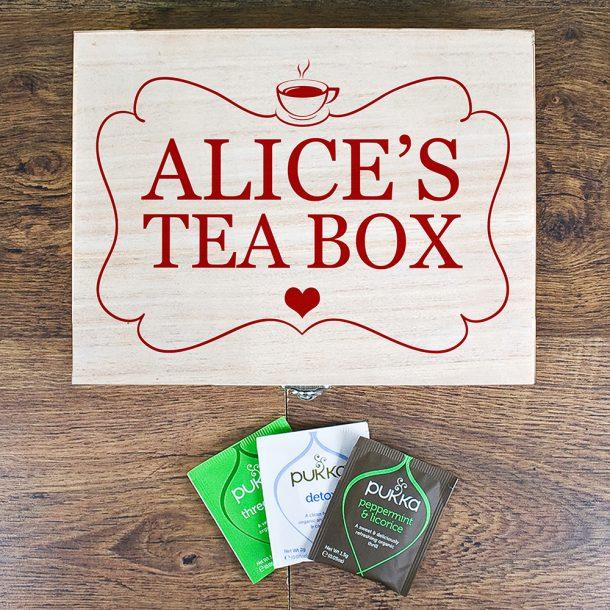 Personalised Wooden Tea Box - Exclusive Love Heart