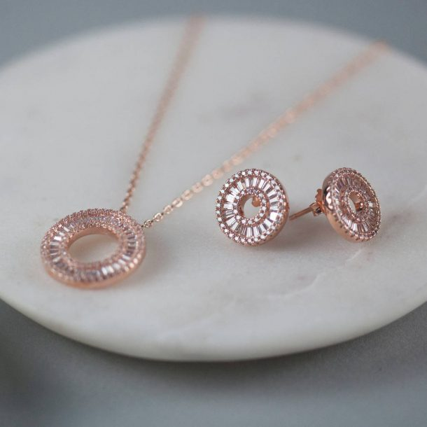 Rose Gold Circular Necklace & Earrings Set