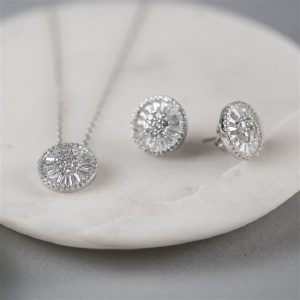 Sterling Silver Circular Necklace & Earrings Set