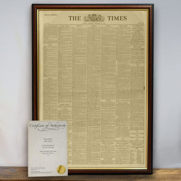 Genuine Original Newspaper Print & Frame
