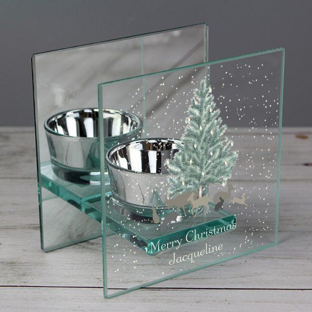 Personalised A Winter's Night Glass Tea Light Holder