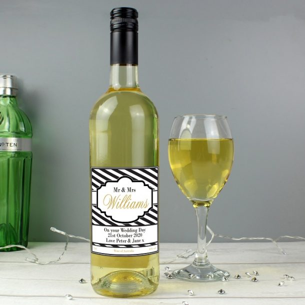 Personalised Art Deco Striped White Wine