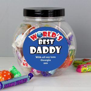 Personalised Blue Worlds Best Sweet Jar