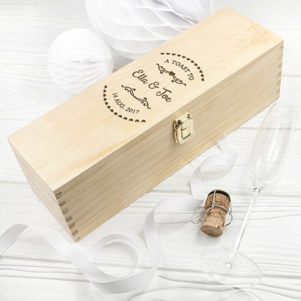 Personalised Couple's Heart Frame Single Wine Box