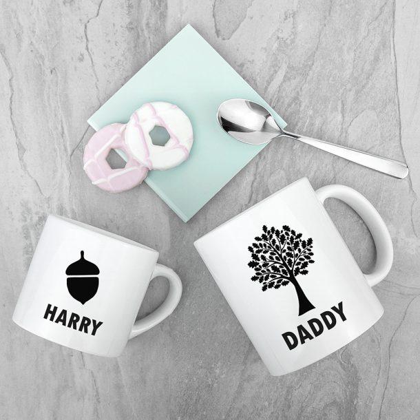 Personalised Daddy & Me Acorn Mug Set