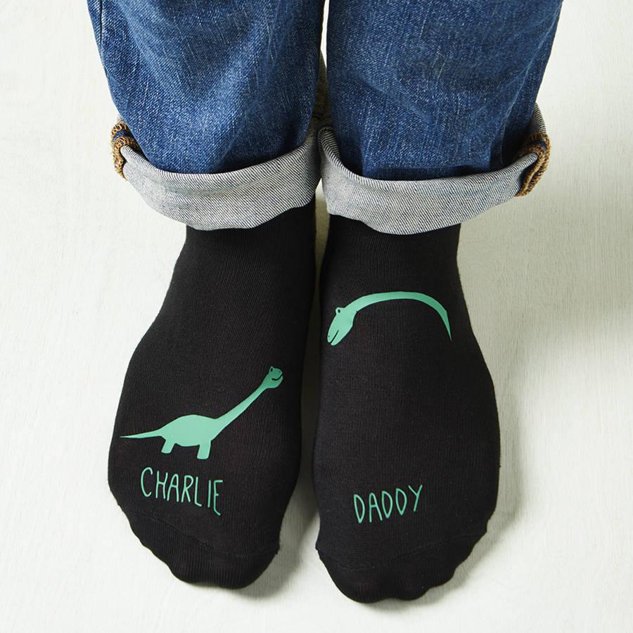 Personalised Daddy Me Dinosaur Socks