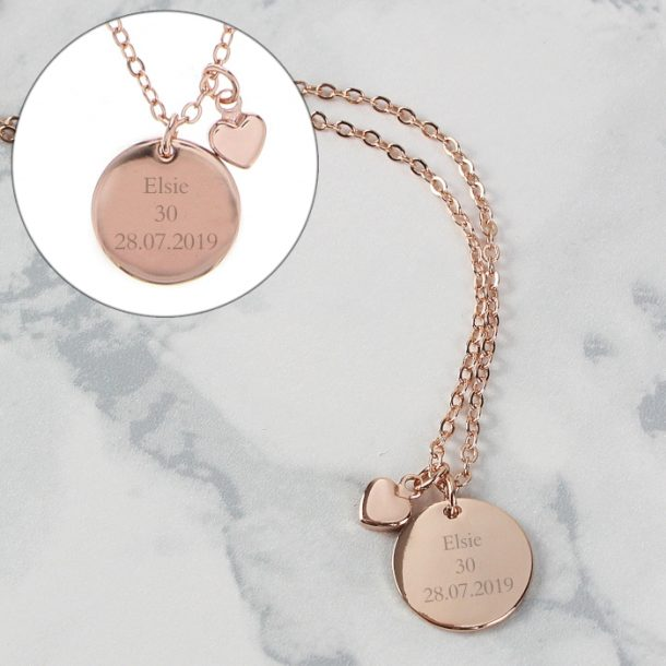 Personalised Disc & Heart Charm Necklace