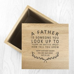 Personalised Father Oak Photo Cube & Keepsake Box