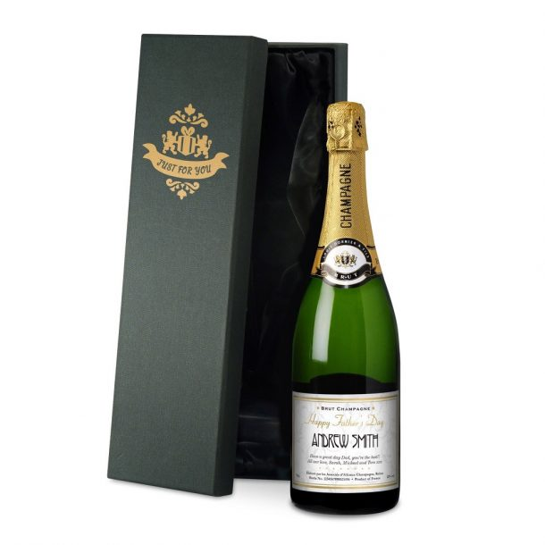 Personalised Father's Day Champagne & silk lined Gift Box