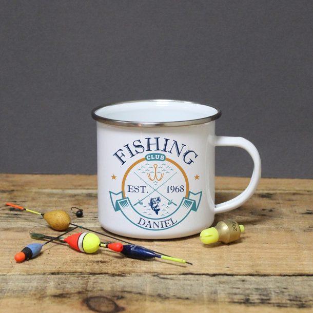 Personalised Fishing Club Enamel Mug