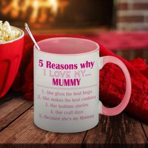 Personalised Five Reasons Why Pink Mug