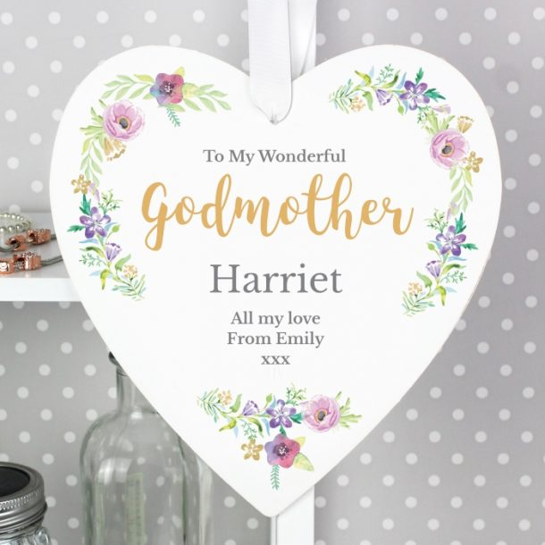 Personalised Floral Large Wooden Heart Decoration