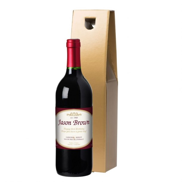 Personalised French VdP Traditional Red Wine & Gift Box