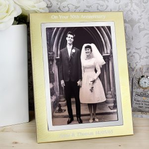 Personalised Gold & Silver Brushed 5x7 Photo Frame