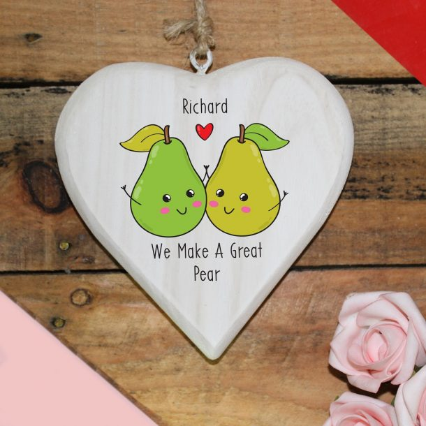 Personalised Great Pear Hanging Heart