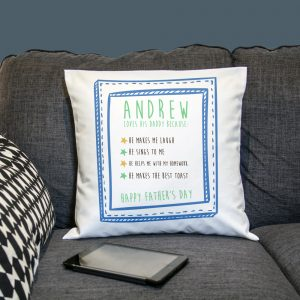Personalised I Love Daddy Because Cushion Cover