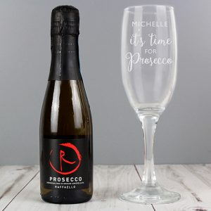Personalised Its Time For Prosecco Flute & Mini Prosecco