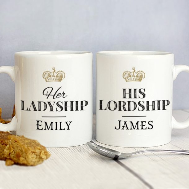 Personalised Ladyship & Lordship Mug Set