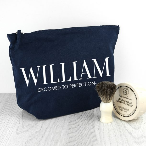 Personalised Men's Navy Wash Bag