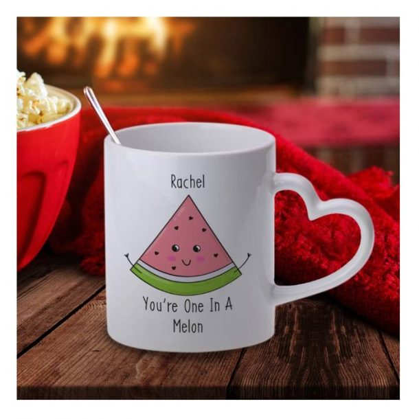 Personalised One In A Melon Heart Handle Mug