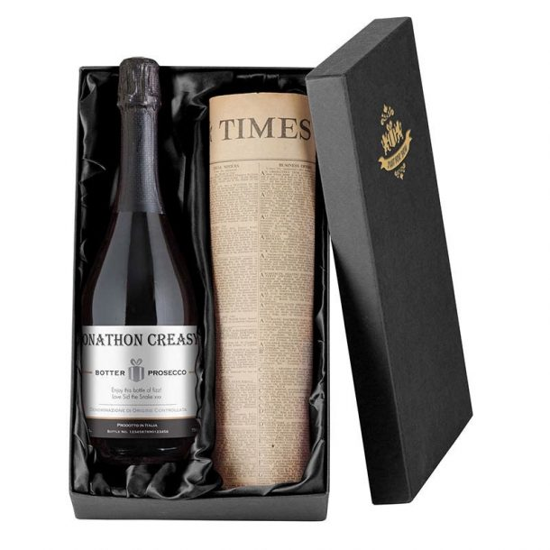 Personalised Prosecco & Newspaper Gift Set
