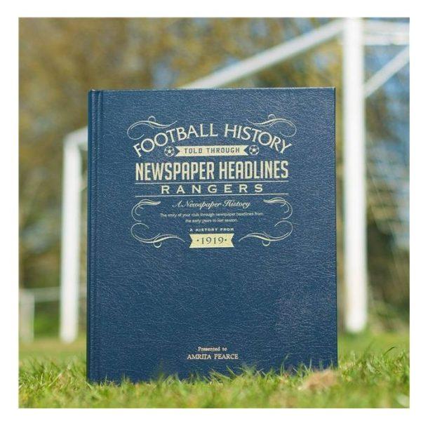 Personalised Rangers Leather Football Newspaper Book