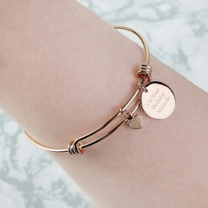 Personalised Rose Gold Coloured Disc & Heart Charm Bracelet