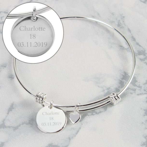 Personalised Silver Coloured Disc & Heart Charm Bracelet