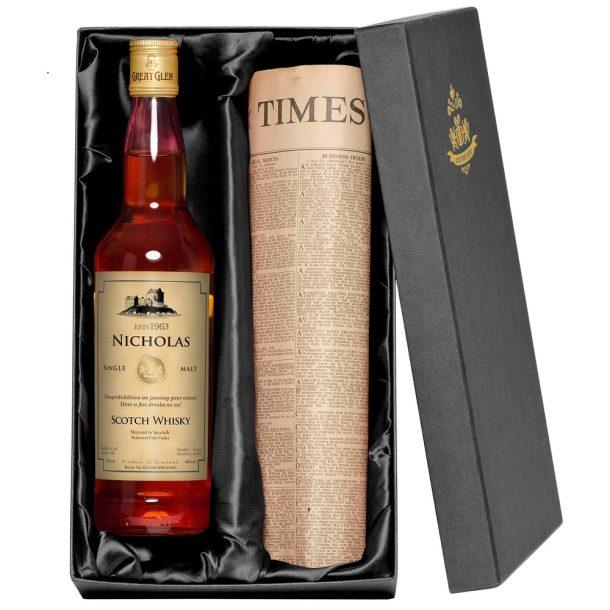 Personalised Single Malt Whisky & Original Newspaper