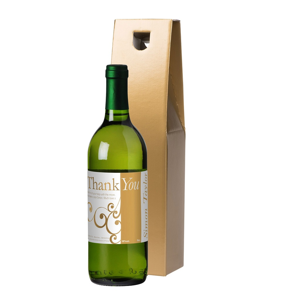 Personalised Thank You White Wine & Gift Box