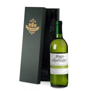 Personalised Wedding Anniversary White Wine & Gift Box