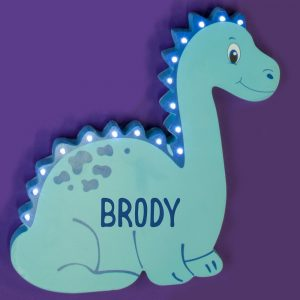 Personalised Wooden Dinosaur LED Wall Light