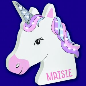 Personalised Wooden Unicorn LED Wall Light