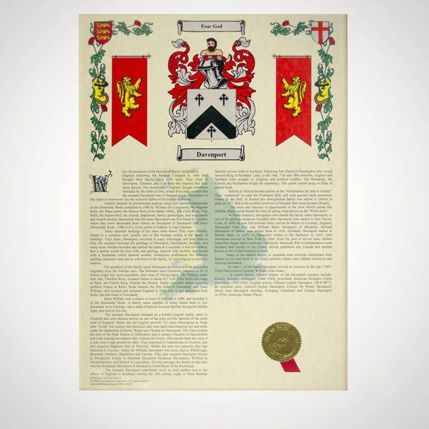 Coat Of Arms & Surname History Print