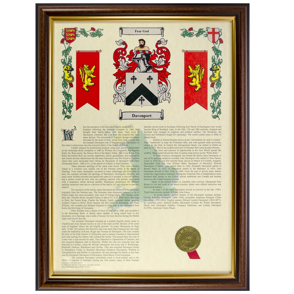 2e37806d94de9 Coat Of Arms   Surname History Print