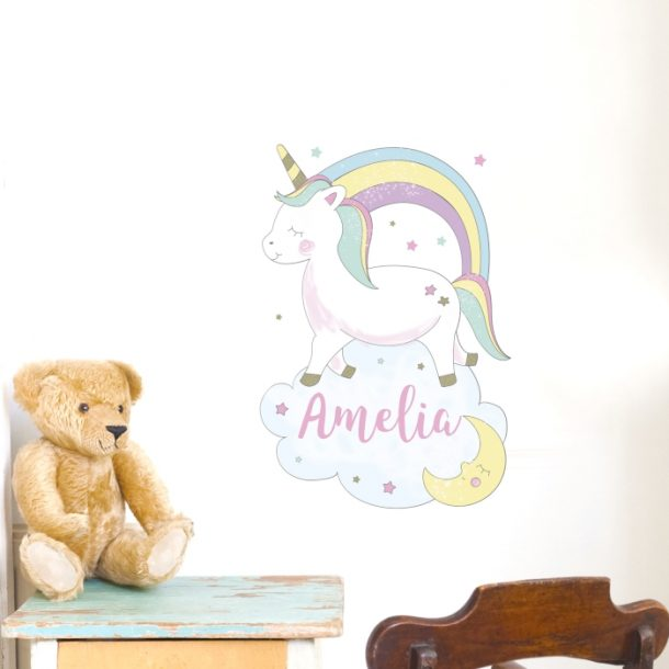 Personalised Baby Unicorn Wall Art