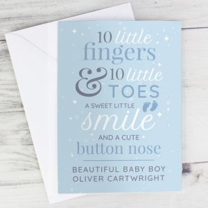 Personalised '10 Little Fingers' Blue Baby Cards