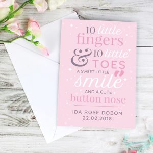 Personalised '10 Little Fingers' Pink Baby Cards
