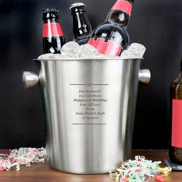Personalised Any Message Stainless Steel Ice Bucket