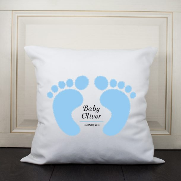 Personalised Baby Feet Cushion Cover - Blue