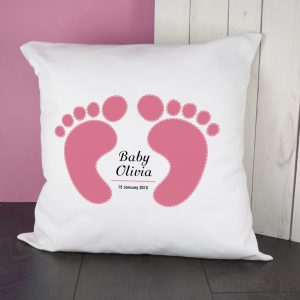 Personalised Baby Feet Cushion Cover - Pink