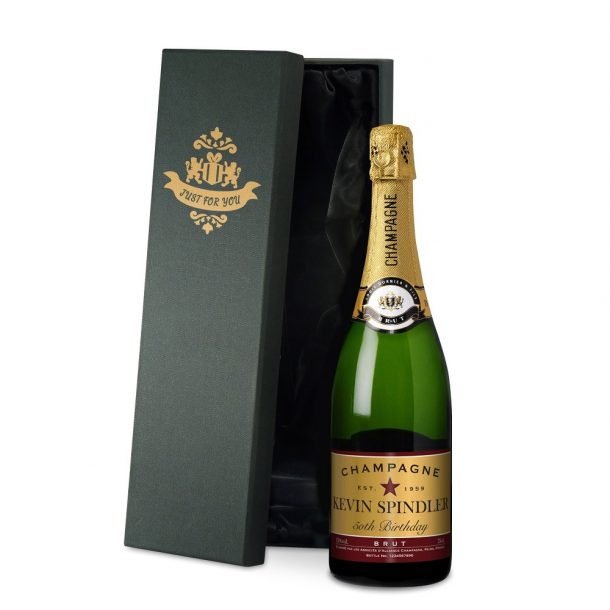 Personalised Birthday Champagne & Silk Lined Gift Box