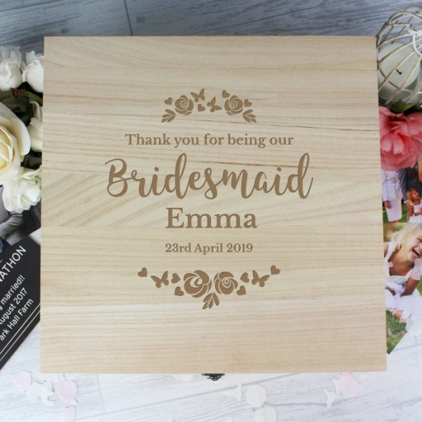 Personalised Bridesmaid Floral Large Wooden Keepsake Box