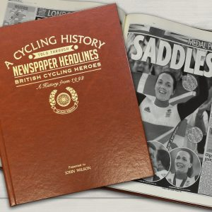Personalised British Cycling Heroes Newspaper Book - Brown Leatherette