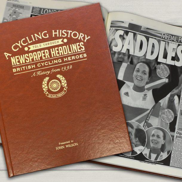 Personalised British Cycling Heroes Newspaper Book - Brown Leatherette