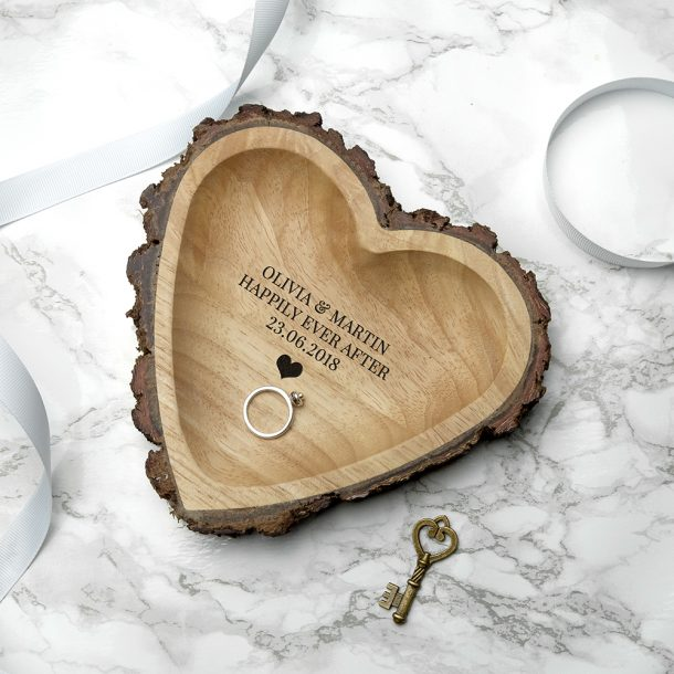 Personalised Carved Wooden Heart Dish – Exclusive Love Heart