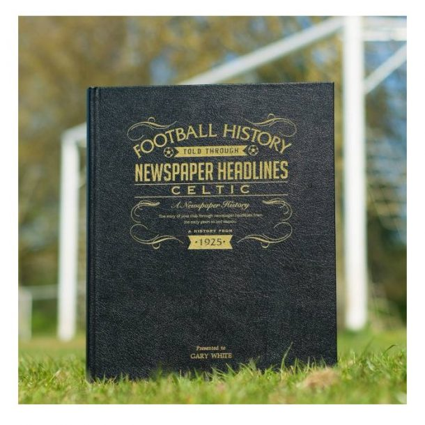 Personalised Celtic Leather Football Newspaper Book